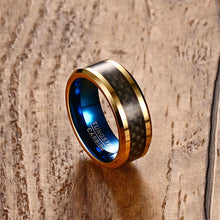 GOLD & BLUE TUNGSTEN CARBIDE CARBON FIBER INLAY RING