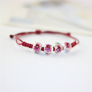 CHARMING DOUBLE STRING CERAMIC BEADS CHARM BRACELET [4 VARIATIONS]