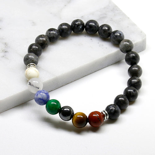 NATURAL LABRADORITE STONES 7 CHAKRA BEADS COMBINATION BRACELET [UNISEX]