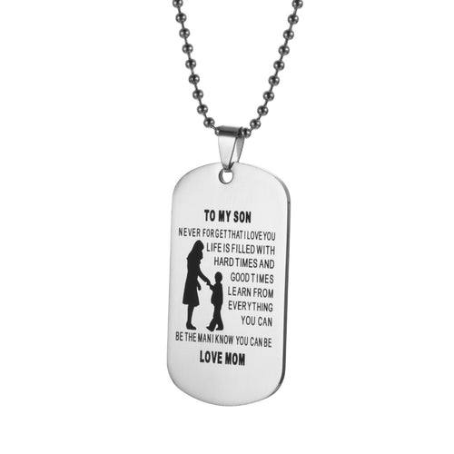 MOTHER TO SON EXPRESSION DOG TAG NECKLACE