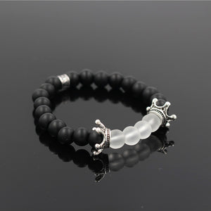 STYLISH DOUBLE CROWN NATURAL ONYX STONE BRACELET