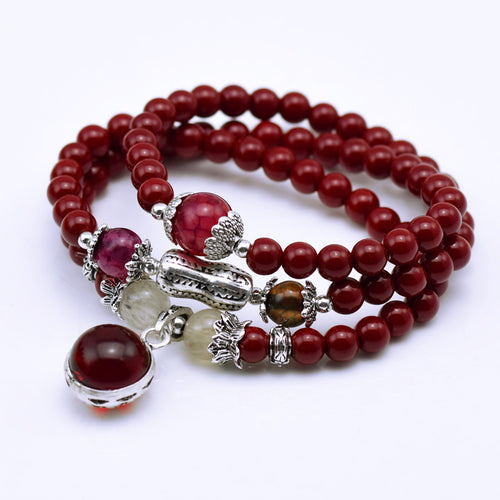 CHARMING 6MM MAROON RED MALA STONES MEDITATION BRACELET