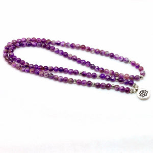 WOMEN'S PURPLE AMETHYST BEADS LOTUS BLOSSOM MALA