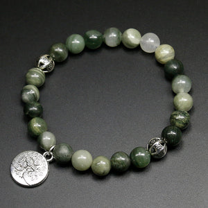 WOMEN'S NATURAL GREEN ONYX STONE BEADS TREE OF LIFE BRACELET