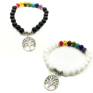 UNISEX OBSIDIAN AND WHITE OPAL BEADS 7 CHAKRA TREE OF LIFE PENDANT BRACELET