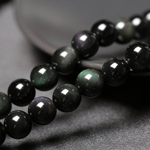 COUPLE'S 6MM AND 8MM OBSIDIAN STONE MULTI- LAYER DISTANCE BRACELET