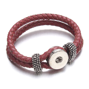 CHARMING BUTTON CLASP BRAIDED LEATHER BRACELET FOR WOMEN [3 COLORS]