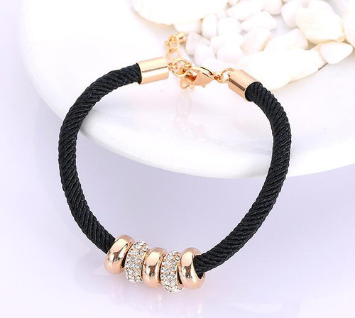 STYLISH BLACK ROPE METAL BEADS CHARM BRACELET
