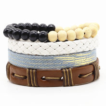 VINTAGE LEATHER BEAD AND WEAVE STACK BRACELETS [8 VARIANTS]