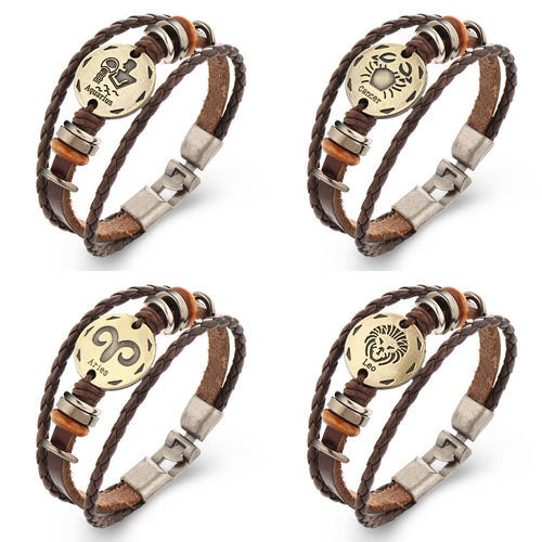 ZODIAC SIGN LEATHER BRACELET WITH METAL ALLOY CLASP [12 ZODIACS]