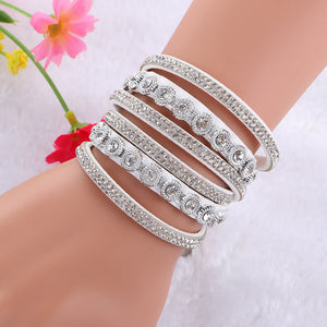 URBAN CHIC CRYSTAL MULTI-WRAP LEATHER BRACELET [6 COLORS]
