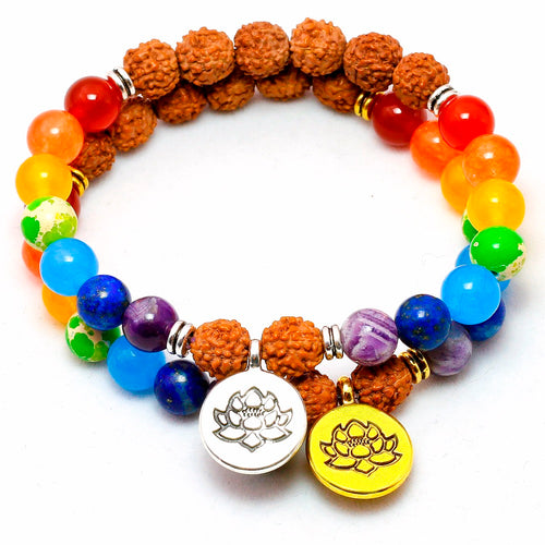 STYLISH NATURAL RUDRAKSHA SEEDS 7 CHAKRA LOTUS PENDANT BRACELET [UNISEX]