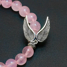 CUTE ROSE QUARTZ BEADS ANGEL'S WINGS PENDANT BRACELET