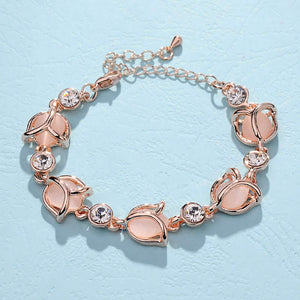 SWEET CHIC LINKED ROSE CHAIN BRACELET [SILVER & GOLD]