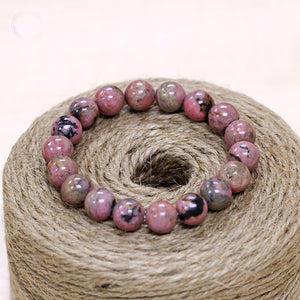WOMEN'S 8MM NATURAL RHODOCHROSITE STONE HEALING BEADS BRACELET