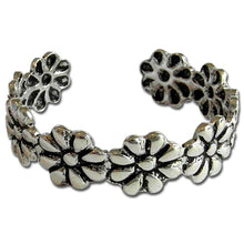 DAISY BLOSSOMS ANTIQUE SILVER OPEN TOE RING