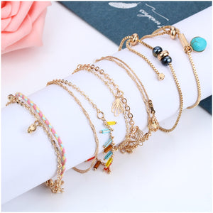 STYLISH ALLOY METAL BOHEMIAN PENDANT BRACELETS [6 VARIATIONS]