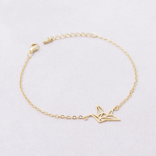 SIMPLE CHIC SINGLE CHAIN ORIGAMI PENDANT BRACELET [SILVER & GOLD]