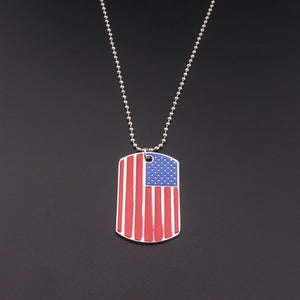 SILVER PLATED AMERICAN FLAG PENDANT NECKLACE