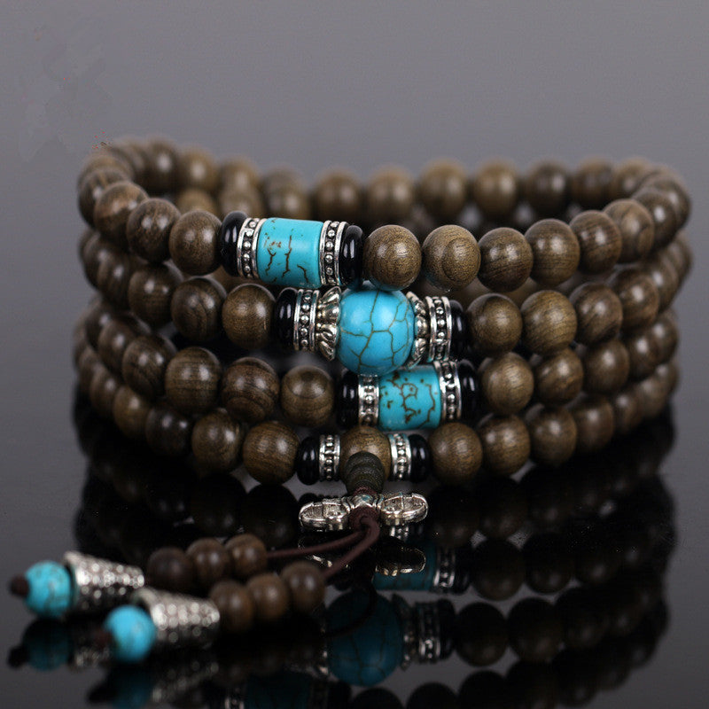MEN'S TIBETAN EBONY SANDALWOOD BEADS MEDITATION MALA
