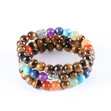 7 CHAKRA TIGER EYE BEADS ANCIENT BUDDHA BRACELET [UNISEX]