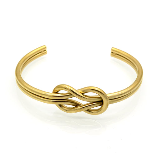 CHARMING KNOTTED STRING TITANIUM STEEL BANGLE BRACELET