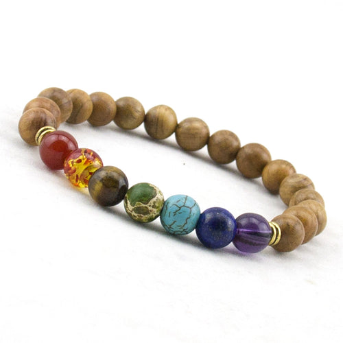 REAL SANDALWOOD BEADS 7 CHAKRA COMBINATION BRACELET [UNISEX]