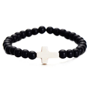 UNISEX 6MM NATURAL BEADS CHRISTIAN CROSS PENDANT BRACELET