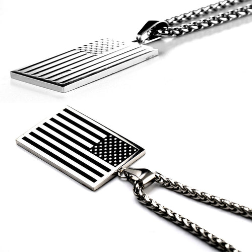 MEN'S US FLAG DOG TAG PENDANT NECKLACE [6 VARIATIONS]