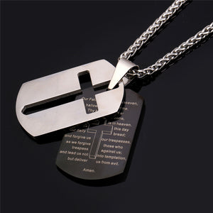 UNISEX LORD'S PRAYER DOG TAG NECKLACE [2 VARIANTS]