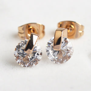 STYLISH ROSE GOLD & SILVER PLATED CRYSTAL STUD EARRINGS