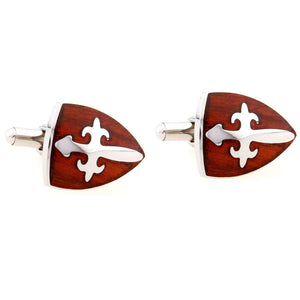 KNIGHT CROSS EMBOSSED ROSEWOOD STAINLESS STEEL CUFFLINK