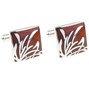 METAL INFUSED ROSEWOOD STAINLESS STEEL CUFFLINK