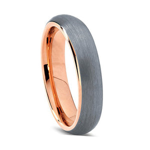 BRUSHED TUNGSTEN ROSE GOLD RING