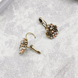 VINTAGE GEOMETRIC FLOWERS AND GEMS DROP EARRINGS