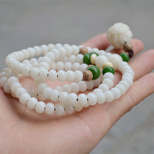 WHITE OPAL AND BODHI BEADS ENLIGHTENMENT MEDITATION MALA