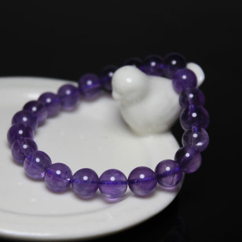 WOMEN'S 8MM AMETHYST PURPLE GLASS BEADS BRACELET