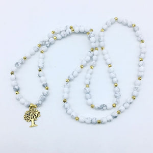 WHITE PURITY MALA BEADS TREE OF LIFE PENDANT BRACELET