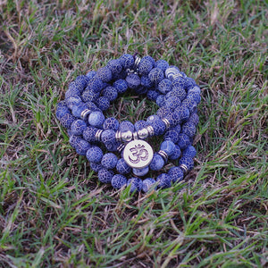 UNISEX NATURAL BLUE TEMPERED STONES OM SYMBOL MEDITATION MALA