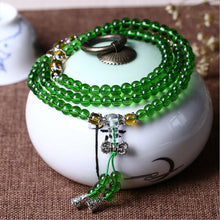 WOMEN'S 6MM GREEN GLASS BEADS MEDITATION MALA [5 VARIATIONS]