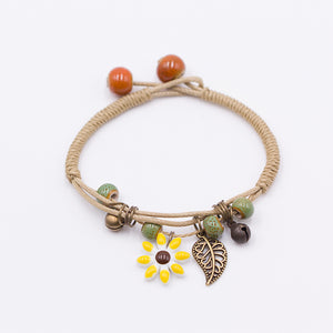TRIPLE STRING FLOWER LEAF PENDANT BRACELET [7 COLORS]