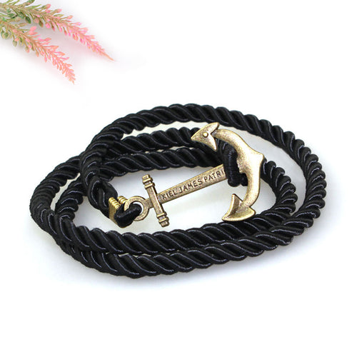 STYLISH ROPE AND ANCHOR PENDANT BRACELET [6 COLORS]