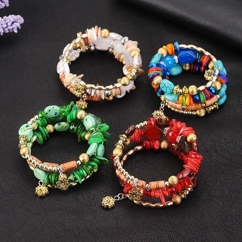 STYLISH CERAMIC BEAD BOHEMIAN STYLE MULTI-LAYER BRACELET [5 VARIATIONS]
