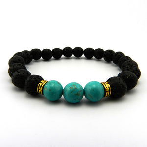 NATURAL LAVA STONES WITH AQUA BLUE ACCENT BEADS DIFFUSER BRACELET [UNISEX]