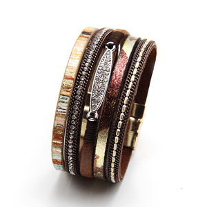 ELEGANT MULTI-LAYER GEM-STUDDED LEATHER BAND BOHEMIAN BRACELET