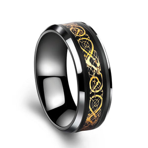 DRAGON LINES CARBON FIBER ON STAINLESS STEEL RING [5 VARIATIONS]