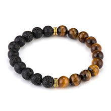COMBINATION LAVA AND TIGER EYE BEADS DIFFUSER BRACELET [UNISEX]