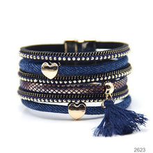 WOMEN'S TASSEL AND HEART PENDANT JEANS STRAP BRACELET [5 VARIATIONS]