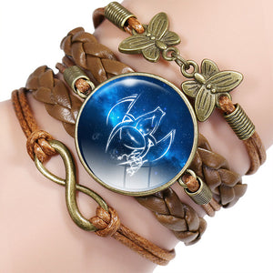 CUTE BRAIDED LEATHER WRAP-AROUND ZODIAC BRACELET [12 VARIATIONS]
