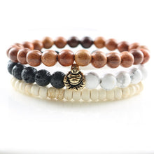 UNISEX 3 PIECES PER SET NATURAL BEADS LUCKY CHARM BRACELETS [18 VARIATIONS]